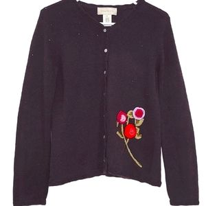 Susan Bristol Embroidered Beaded Black Cardigan